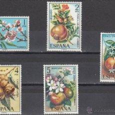 España 1975 Edifil 2254/8 Sellos ** Flora Ctª Almendro, Granado, Naranjo, Castaño y Manzano Timbres