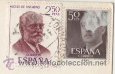 SELLOS FRANCO 50 CÉNTIMOS Y MIGUEL DE UNAMUNO 2.50 PESETAS ( PEGADOS EN POSTAL ) (Sellos - España - II Centenario De 1.950 a 1.975 - Usados)