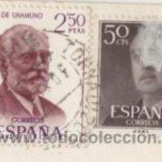 Sellos: SELLOS FRANCO 50 CÉNTIMOS Y MIGUEL DE UNAMUNO 2.50 PESETAS ( PEGADOS EN POSTAL ). Lote 39323595