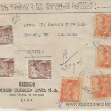 Sellos: FRONTAL DE CARTA DE ELDA A SEVILLA DEL 4 -10-50. CON EDIFIL 1027(3) Y 1054 (4). Lote 39570533