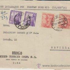 Sellos: FRONTAL DE CARTA DE ELDA A SEVILLA DEL 25 -8-50. CON EDIFIL 1030(2) Y 1058 (2).. Lote 39575961