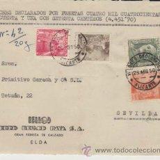 Sellos: FRONTAL DE CARTA DE ELDA A SEVILLA DEL 25 -8-50. CON EDIFIL 1000(1), 1032 (1) 1054 (1) Y 1058 (2).. Lote 39576204
