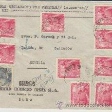 Sellos: FRONTAL DE CARTA DE ELDA A SEVILLA DEL 5 MAYO 1950. CON 1032 (9) Y 1050 (1).. Lote 39598062