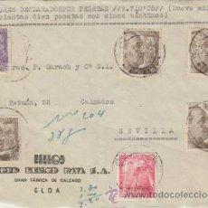 Sellos: FRONTAL DE CARTA DE ELDA A SEVILLA DEL 15 - 5 -1950. CON 1032 (1) 1047 (1) Y 1057 (4). Lote 39598493