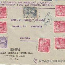 Sellos: FRONTAL DE CARTA DE ELDA A SEVILLA DEL 17 MAY1950. CON 1032 (5) Y 1047 (1) 1053 (1). Lote 39598586