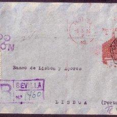 Sellos: ESPAÑA. (CAT. GÁLVEZ 122 + VIÑETA). 1956. SOBRE CERT. DE SEVILLA A LISBOA. FRANQUEO MECÁNICO. VIÑETA. Lote 38632311
