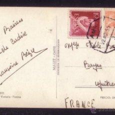 Sellos: ESPAÑA.(CAT.1054,1072).1955.T.P. DE CÁDIZ A FRANCIA. MAT. AMBULANTE FF.CC. *AMB./3/CÁDIZ*. MAGNÍFICA. Lote 22786665