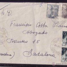 Sellos: ESPAÑA.(CAT.1053,1056,1073). 1954. SOBRE CERTIFICADO DE * LA ESCALA (GERONA) *. MUY BONITO FRANQUEO.. Lote 24681010
