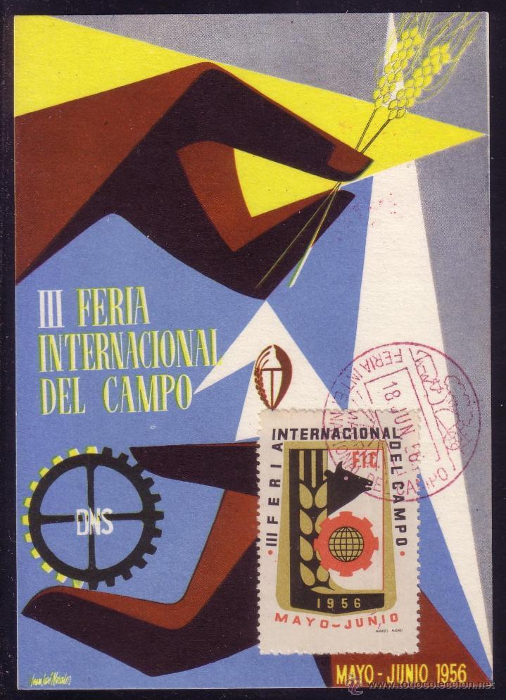 1956.T.P.PROPAGANDA.FERIA INT.SELLOS MÁS VIÑETA MADRID/FERIA INTERNACIONAL DEL CAMPO. MAT. ROJO.RARA (Sellos - España - II Centenario De 1.950 a 1.975 - Cartas)