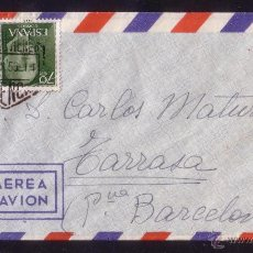 Sellos: ESPAÑA.(CAT.1151).1955.SOBRE DE CORREO AÉREO DE VALENCIA A TARRASA. DORSO AMBULANTE FERROCARRIL.RR.. Lote 26880354