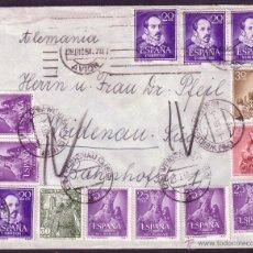 Sellos: ESPAÑA. 1954. SOBRE DE MADRID A ALEMANIA. FRANQUEO CON 13 SELLOS (DIEZ CON MAT. ALEMÁN). MUY RARA.. Lote 38204427