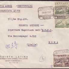 Sellos: ESPAÑA. (CAT. 883,885(2)). 1953. SOBRE CERTIFICADO DE MADRID A ROMA. MUY BONITO FRANQUEO. MAGNÍFICA.. Lote 27188696