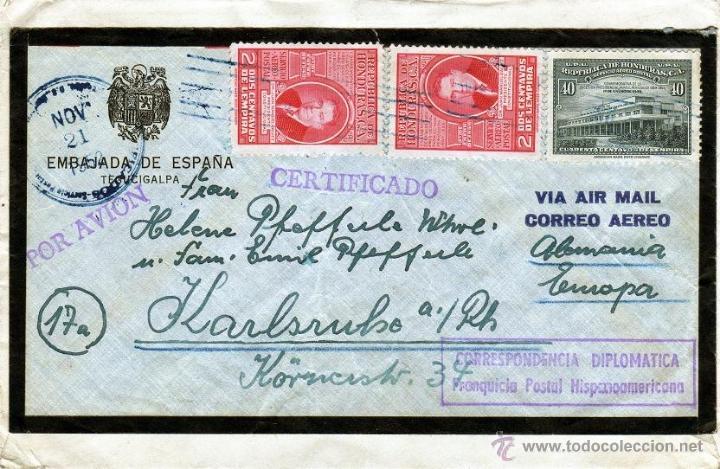 CORRESPONDENCIA DIPLOMATICA 1952 CARTA REGISTRADA EMBAJADA DE ESPAÑA TEGUCIGALPA, SELLOS HONDURAS (Sellos - España - II Centenario De 1.950 a 1.975 - Cartas)