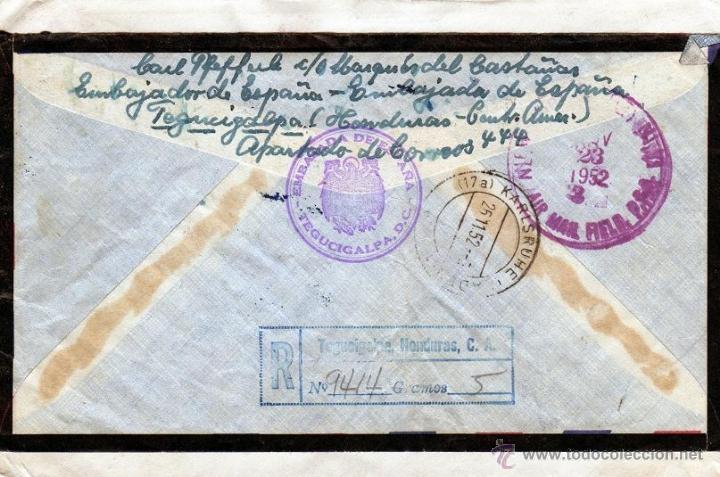 Sellos: CORRESPONDENCIA DIPLOMATICA 1952 CARTA REGISTRADA EMBAJADA DE ESPAÑA TEGUCIGALPA, SELLOS HONDURAS - Foto 2 - 40632153