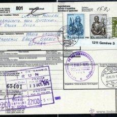 Sellos: PAQUETES POSTALES DE SUIZA (SELLOS) A ORENSE 1973, RED NACIONAL DE LOS FERROCARRILES ESPAÑOLES IRUN. Lote 40788135