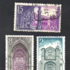 3 sellos usados, serie, año 1972, edifil 2111, 2112 y 2113, monasterio de santo tomás, ávila