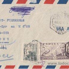 Sellos: SOBRE CORREO AÉREO DE TANGER A RHOME (FRANCIA) Y POR ERROR ENVIADA A ROMA ITALIA. 1950 . Lote 41203554
