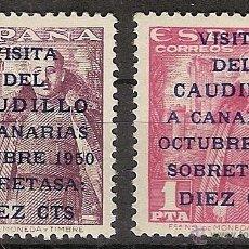Sellos: ESPAÑA SEGUNDO CENTENARIO SERIES 1088/89 ** CAUDILLO A CANARIAS. Lote 42283122