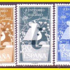 Sellos: 1955 I CENT. TELÉGRAFO, EDIFIL Nº 1180 A 1182 *. Lote 42873035