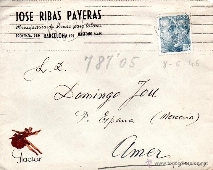 . CARTA JOSE RIBAS PAYERAS BARCELONA (Sellos - España - II Centenario De 1.950 a 1.975 - Cartas)