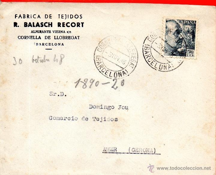 . CARTA R BALASCH RECORT CORNELLA DE LLOBREGAT (Sellos - España - II Centenario De 1.950 a 1.975 - Cartas)