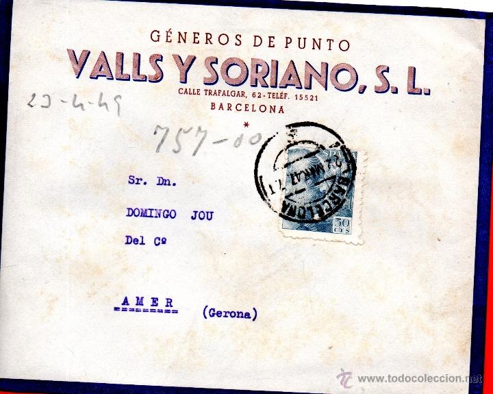 . CARTA VALLS Y SORIANO BARCELONA (Sellos - España - II Centenario De 1.950 a 1.975 - Cartas)