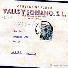 Sellos: . CARTA VALLS Y SORIANO BARCELONA . Lote 43655581