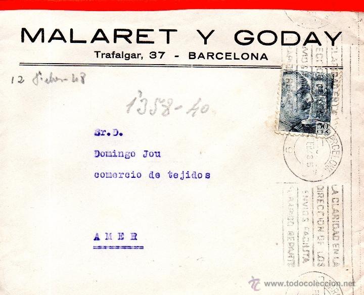. CARTA MALARET Y GODAY BARCELONA (Sellos - España - II Centenario De 1.950 a 1.975 - Cartas)