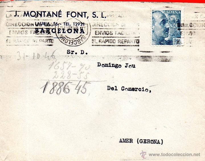 . CARTA J MONTANE FONT BARCELONA (Sellos - España - II Centenario De 1.950 a 1.975 - Cartas)