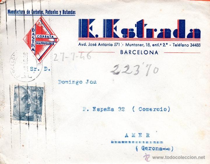 . CARTA E ESTRADA BARCELONA (Sellos - España - II Centenario De 1.950 a 1.975 - Cartas)