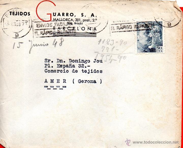 . CARTA TEJIDOS GUARRO BARCELONA (Sellos - España - II Centenario De 1.950 a 1.975 - Cartas)