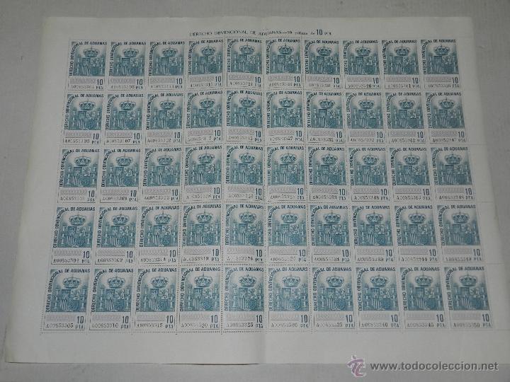 (M-0) LAMINA PLANCHA - DERECHO OBVENCIONAL DE ADUANAS - 50 POLIZAS DE 10 PESETAS , BUEN ESTADO (Sellos - España - II Centenario De 1.950 a 1.975 - Nuevos)