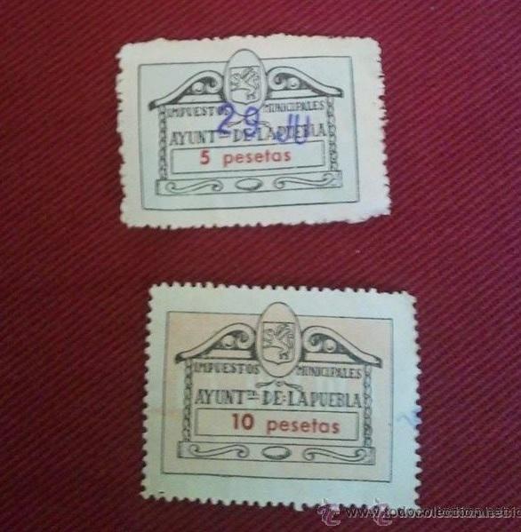 2 SELLOS DE IMPUESTOS MUNICIPALES, 5 Y 10 PESETAS (Sellos - España - II Centenario De 1.950 a 1.975 - Usados)
