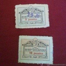 Sellos: 2 SELLOS DE IMPUESTOS MUNICIPALES, 5 Y 10 PESETAS. Lote 195266631