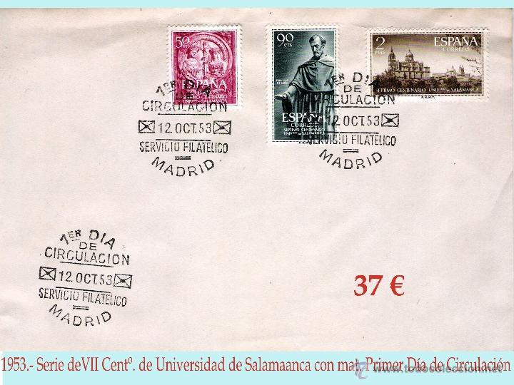 1953.- SERIE UNIVERSIDAD DE SALAMANCA EN CARTA CON MATASELLOS DE PRIMER DÍA- (Sellos - España - II Centenario De 1.950 a 1.975 - Cartas)