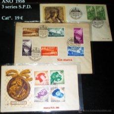 Sellos: 1958.- 3 SERIES, GRAN CAPITAN, CARLOS I Y FERROCARRILES, SOBRES S.F.C. Y MAT DE PRIMER DÍA.. Lote 47456431