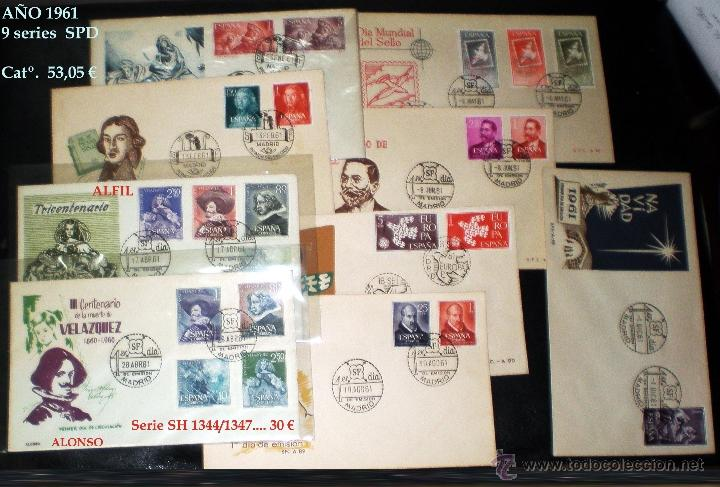1961.- 9 SERIES, DESTACA H.B. DE VELAZQUEZ RECORTADAS EN SOBRES DEL S.F.C. Y MAT. DE PRIMER DÍA. (Sellos - España - II Centenario De 1.950 a 1.975 - Cartas)