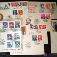 Sellos: 1961.- 9 SERIES, DESTACA H.B. DE VELAZQUEZ RECORTADAS EN SOBRES DEL S.F.C. Y MAT. DE PRIMER DÍA.. Lote 45130642