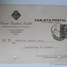 Sellos: TARJETA POSTAL DE AGENTE COMERCIAL DE BEMBIBRE , LEON 1957. Lote 45187507