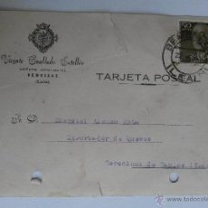 Sellos: TARJETA POSTAL DE AGENTE COMERCIAL DE BEMBIBRE , LEON 1957. Lote 45187795