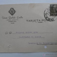 Sellos: TARJETA POSTAL DE AGENTE COMERCIAL DE BEMBIBRE , LEON 1957. Lote 45188095