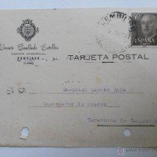 Sellos: TARJETA POSTAL DE AGENTE COMERCIAL DE BEMBIBRE , LEON 1957. Lote 45188212