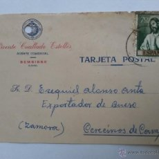 Sellos: TARJETA POSTAL DE AGENTE COMERCIAL DE BEMBIBRE , LEON 1961. Lote 45188372