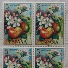 Sellos: ESPAÑA EN BLOQUE DE 4 SELLOS MNH AÑO 1975 EDIFIL 2258 SPAIN E1975A FLORA MANZANA. Lote 45235677