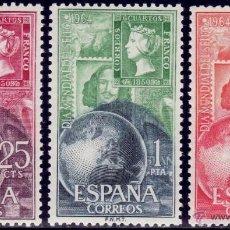 Sellos: ESPAÑA AÑO 1964 EDIFIL 1595/97 ** MNH SELLOS NUEVOS SIN FIJASELLOS DIA MUNDIAL DEL SELLO. Lote 125422858