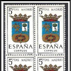 Sellos: SELLOS NUEVOS DE ESPAÑA BLOQUE DE 4 AÑO 1964 ESCUDOS DE MADRID Nº 1557 EDIFIL. Lote 52548369