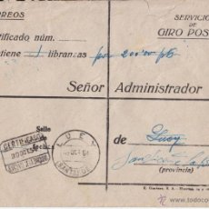 Sellos: SOBRE CERTIFICADO. GIRO. LUEY. SAN VICENTE DE LA BARQUERA. CANTABRIA. 1954. Lote 45388173