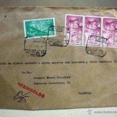 Sellos: SOBRE CIRCULADO. REEMBOLSO, MADRID, VALENCIA, 1964, RESTOS DE LACRADO. Lote 46217362