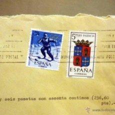 Sellos: SOBRE CIRCULADO. REEMBOLSO, MADRID, VALENCIA, 1966, RESTOS DE LACRADO. Lote 46217586