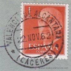 Sellos: CACERES .- MATASELLOS - MATASELLO FECHADOR VALENCIA DE ALCANTARA SOBRE SELLO DE FRANCO. Lote 47460736